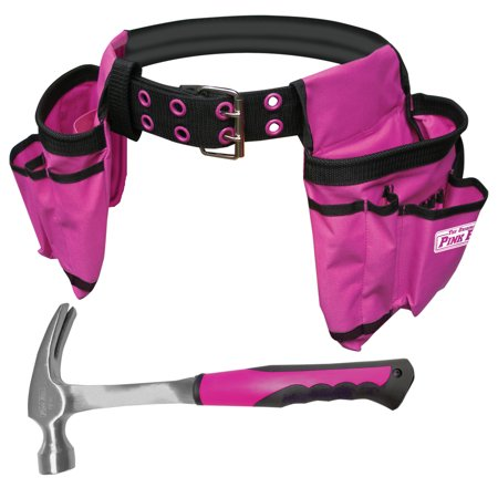 The Original Pink Box 16oz Steel Hammer and Tool Belt Bundle