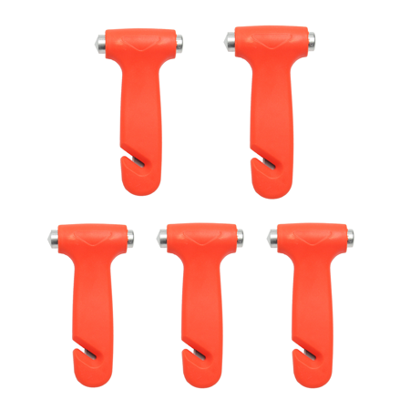 5pcs Car Emergency Safety Escape Hammer Glass Window Breaker Belt Cutter Tool Stainless Steel Orange