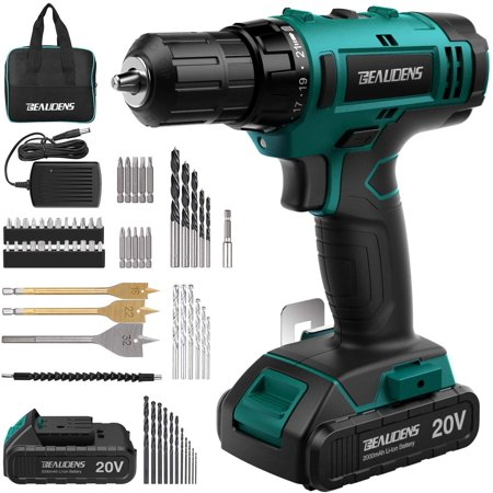 20V Max Cordless Drill, 3/8 Inch Power Drill Set with with 2000mAh Lithium Ion Battery and Charger, Variable Speed, 21+1 Torque Setting and 61-Pieces Drill/Driver Accessories Kit