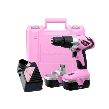 Pink Power PP182 18V Cordless Drill Driver Set for Women – Tool Case, 18 Volt Electric Drill, Charger and 2 Batteries