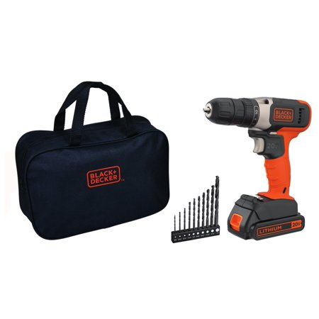 BLACK+DECKER 20-Volt MAX* Lithium-Ion Cordless Drill with Storage Bag + 10 Drill Bits, BCD702VABWM