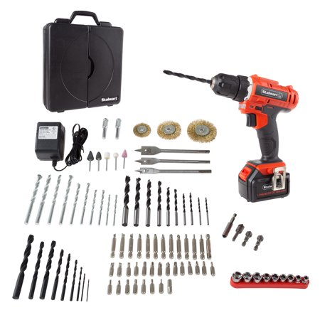 20V Cordless Drill with Rechargeable Battery and 89 Piece Accessory Set by Stalwart